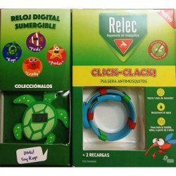 RELEC PULSERA ANTIMOSQUITOS CLICK-CLACK + RELOJ DIGITAL TORTUGA