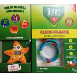 RELEC PULSERA ANTIMOSQUITOS CLICK-CLACK + RELOJ DIGITAL ESTRELLA