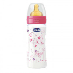 CHICCO BIBERON WELL-BEING ROSA CAUCHO FLUJO MEDIO 2M+ 250ML