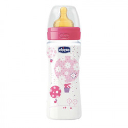 CHICCO BIBERON WELL-BEING ROSA CAUCHO FLUJO RAPIDO 4M+ 330ML