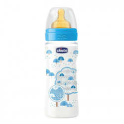 CHICCO BIBERON WELL-BEING AZUL CAUCHO FLUJO RAPIDO 4M+ 330ML