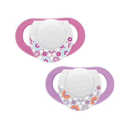 CHICCO CHUPETE COMPACT CAUCHO ROSA 6-12M 2UD