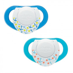 CHICCO CHUPETE COMPACT CAUCHO AZUL 6-12M 2UD