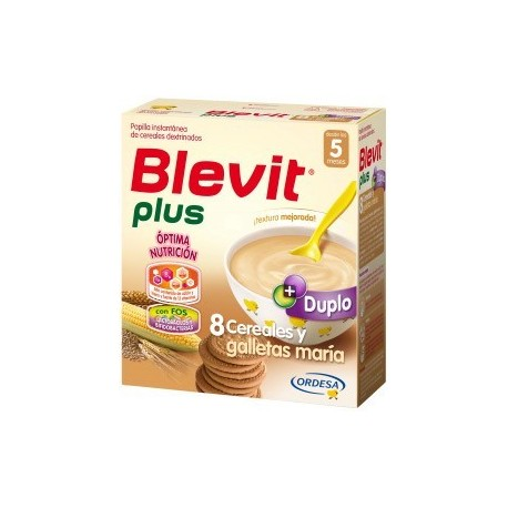 BLEVIT PLUS DUPLO 8 CEREALES CON GALLETAS MARIA 600GR