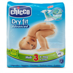 CHICCO PAÑAL DRY FIT TALLA 3 4-9KG 21ud