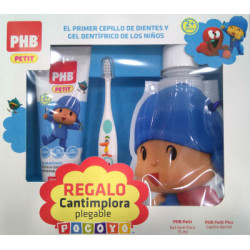 PHB PETIT GEL POCOYO 75ML +CEPILLO + CANTIMPLORA PLEGABLE DE REGALO