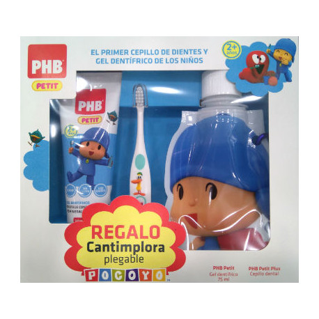 PHB PETIT GEL POCOYO 75ML +CEPILLO + CANTIMPLORA PLEGABLE DE REGALO