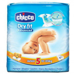CHICCO PAÑAL DRY FIT TALLA 5 12-25KG 17ud
